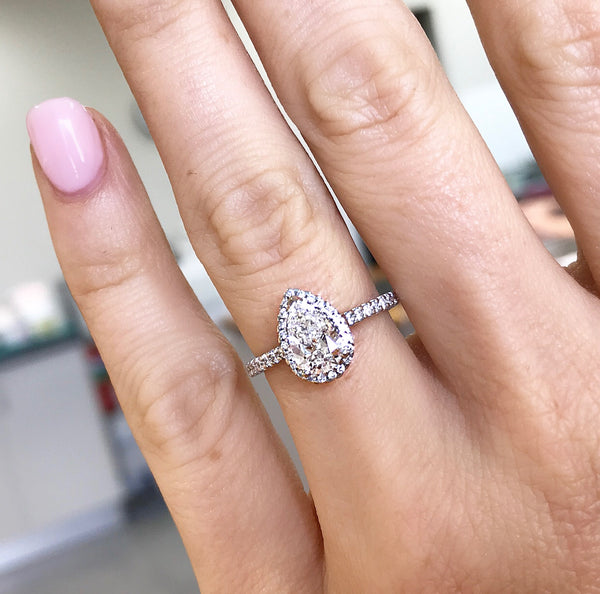 Pear Shape Diamond Halo Engagement Ring
