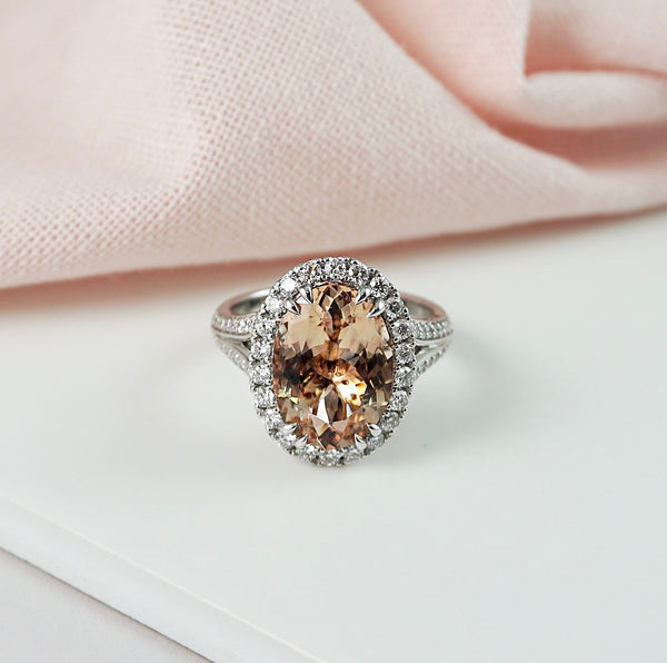 'Ava' Morganite & Diamond Halo Ring