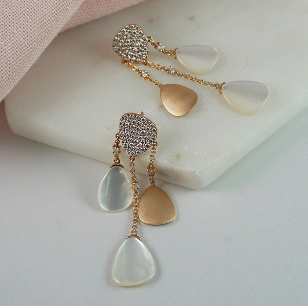Rose Gold, Mother of Pearl & Diamond Earrings