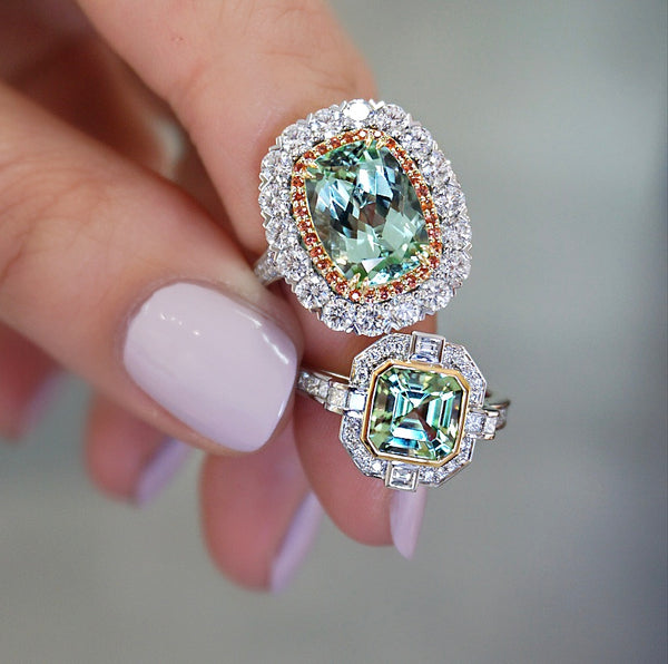 'Gatsby' Green Tourmaline & Diamond Halo Ring
