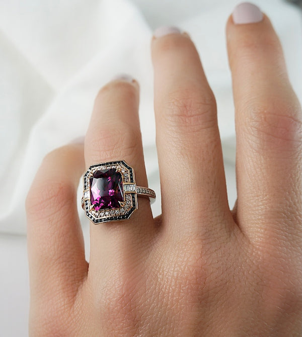 'Adele' Rhodolite Garnet, Diamond & Black Diamond Ring