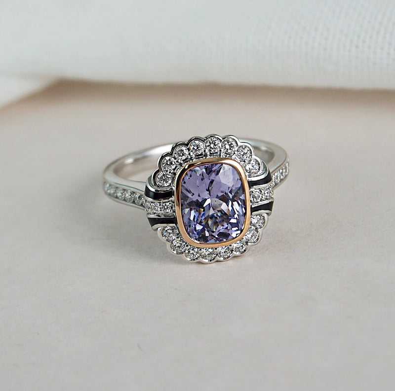 'Violet' Lavender Spinel & Black Enamel Ring