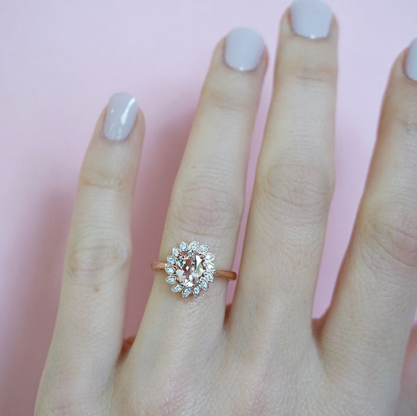 Morganite & Diamond Fancy Halo Ring