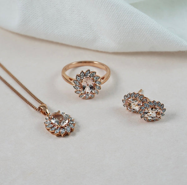 Morganite & Diamond Fancy Halo Pendant