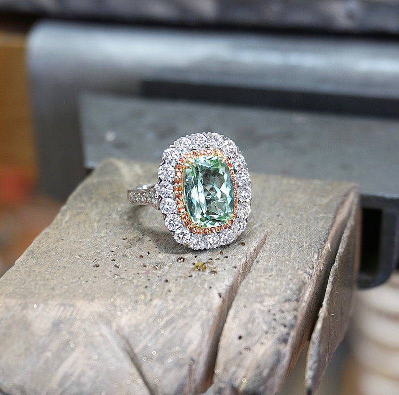 'Lacy' Mint Tourmaline, Orange Sapphire & Diamond Double Halo Ring