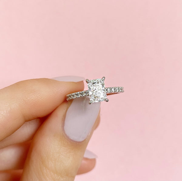 Renee-Radiant Shape Diamond Engagement Ring with Diamond Set Band in White Gold