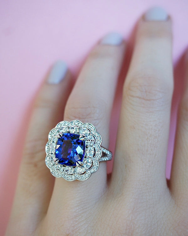Tanzanite & Diamond Double Halo Ring
