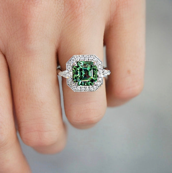 Mint Tourmaline & Diamond Halo Ring