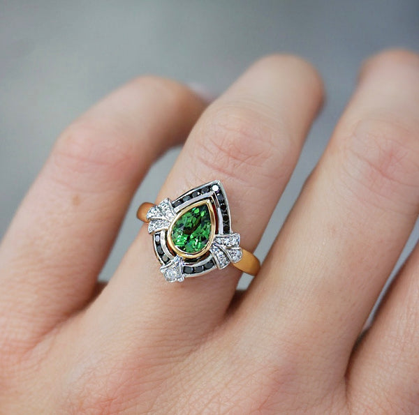 'Audrey' Tsavorite Garnet and Black Diamond Ring