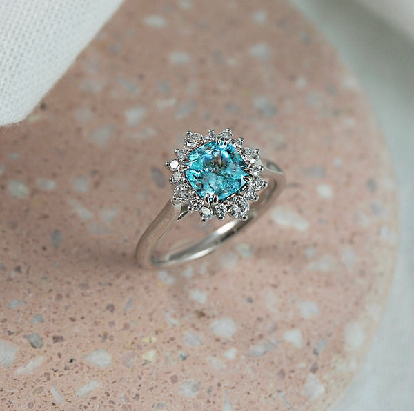 'Elsa' Paraiba Tourmaline & Diamond Halo Ring