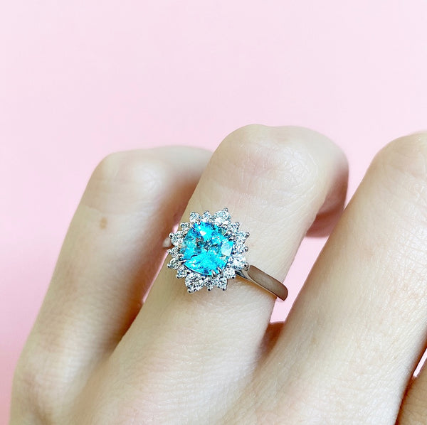 Paraiba Tourmaline & Diamond Halo Ring