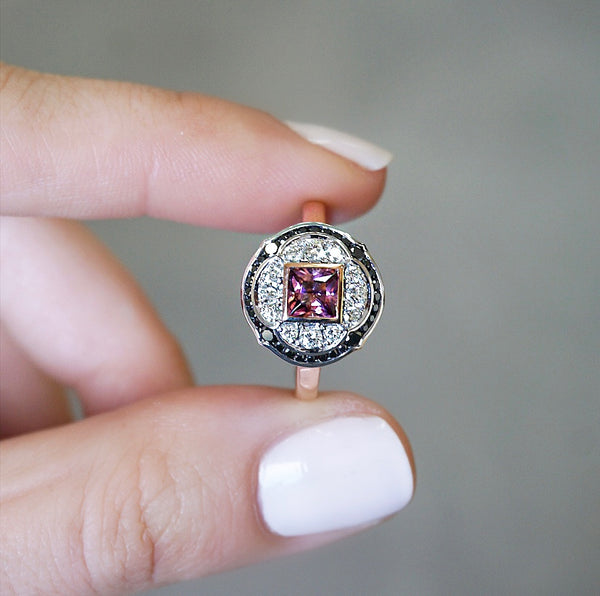 Pink Tourmaline & Black Diamond Ring