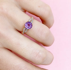 Amethyst & Diamond Rose Gold Ring