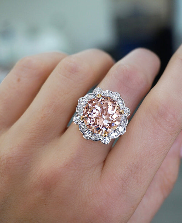 'Florence' Morganite & Diamond Halo Cocktail Ring