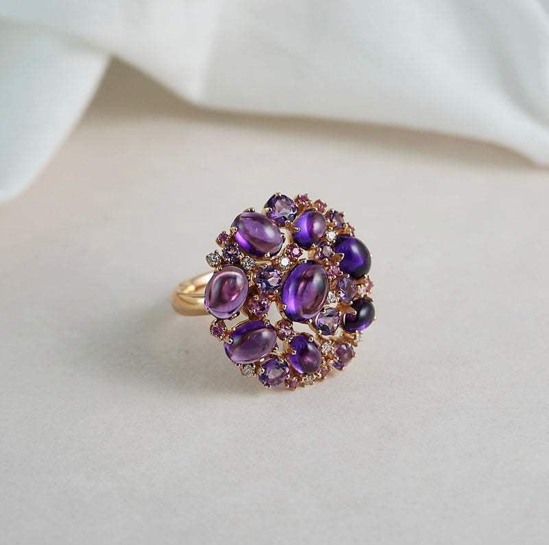 'Tutti Frutti' Rose Gold, Amethyst, Pink Sapphire & Diamond Ring