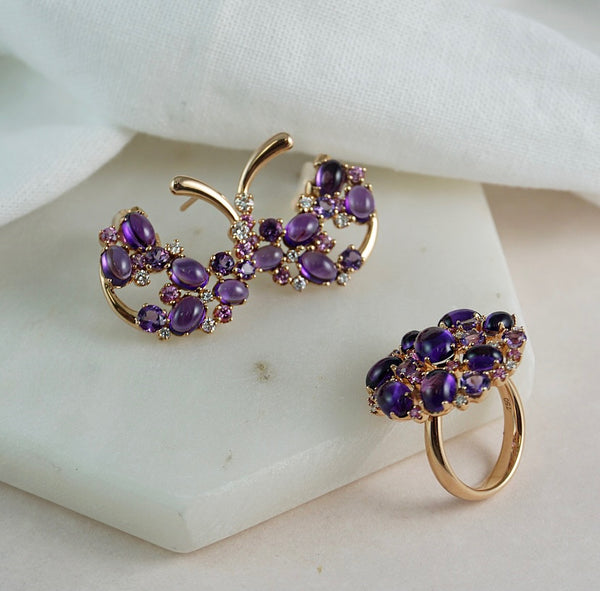 'Tutti Frutti' Rose Gold, Amethyst, Pink Sapphire & Diamond Earrings