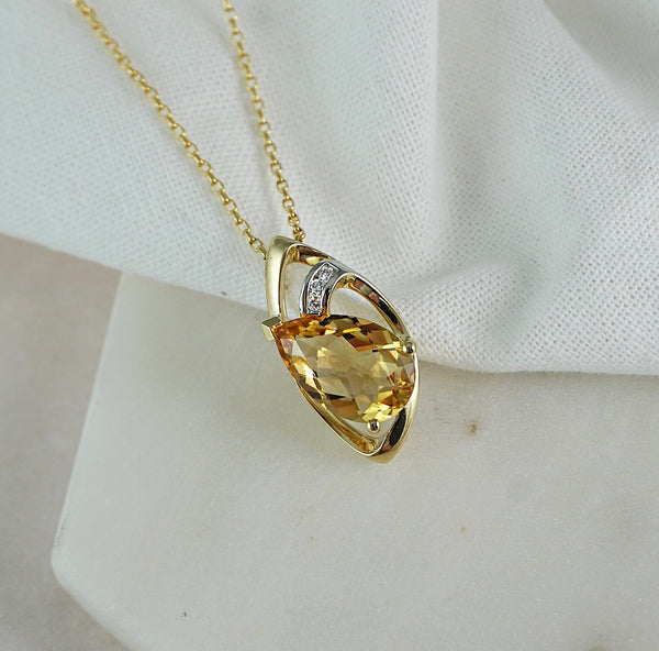 Yellow Gold, Citrine & Diamond Pendant