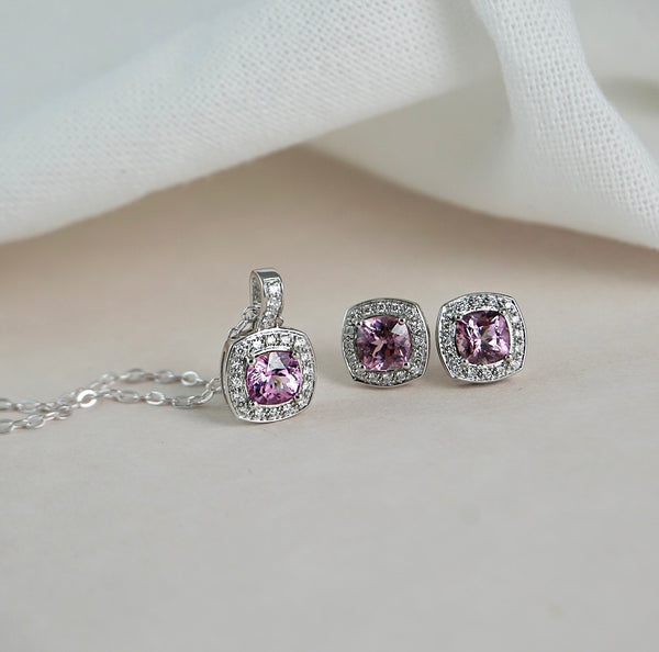 White Gold, Pink Spinel & Diamond Pendant
