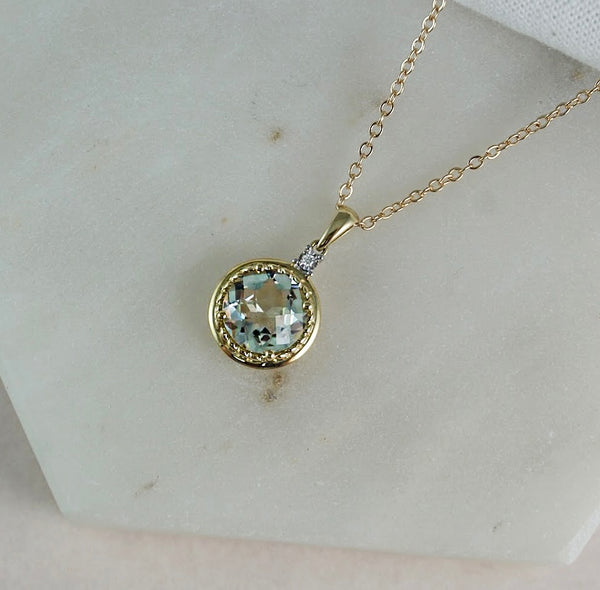 Yellow Gold, Green Amethyst & Diamond Pendant