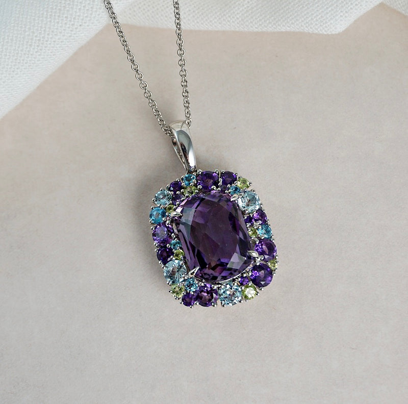 White Gold Amethyst Enhancer Pendant