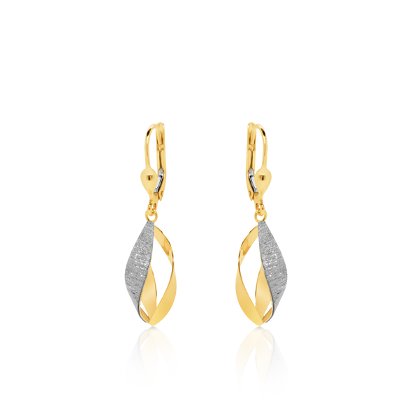 Yellow & White Gold Frosted Strip Earrings