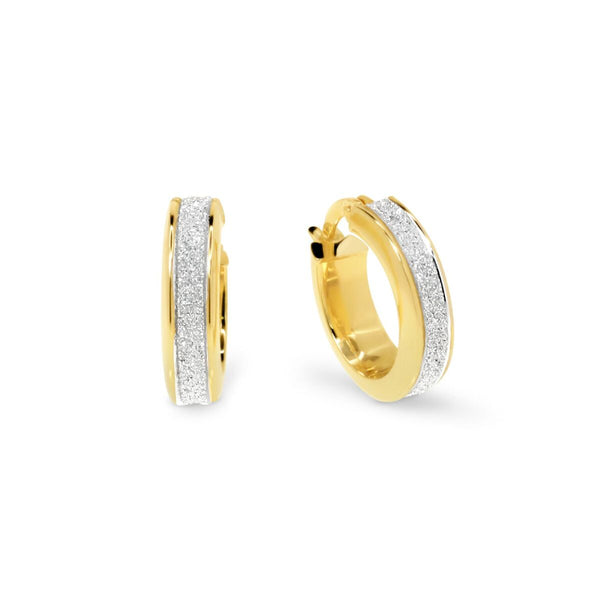 Yellow Gold & White Gold Frosted Hoop Earrings