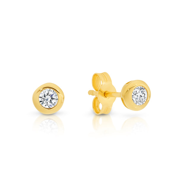 Bezel Cubic Zirconia Stud Earrings