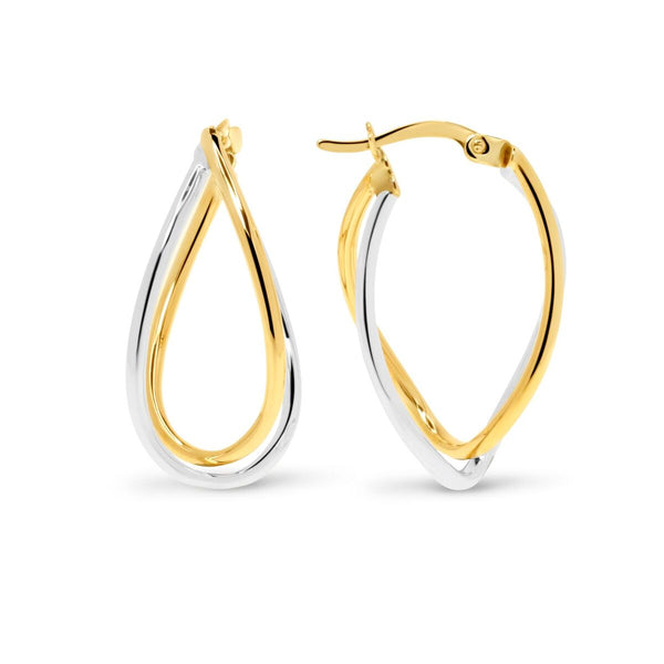 Yellow Gold & White Gold Hoop Earrings
