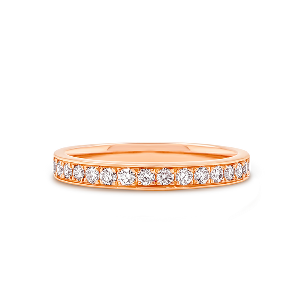 Rose Gold Grain Set Diamond Wedding Ring