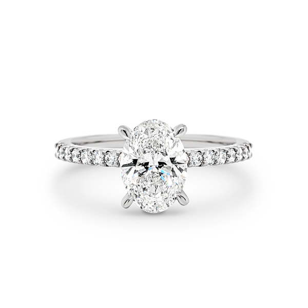 Harper - Oval Shape Diamond Engagement Ring with Diamond Set Band in White Gold
