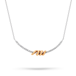 Diamond bar pendant with rose gold feature