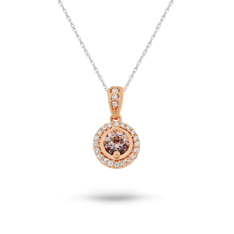 Morganite & Diamond Round Halo Rose Gold Pendant