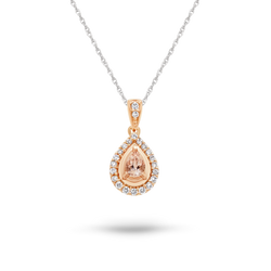 Morganite & Diamond Pear Halo Rose Gold Pendant