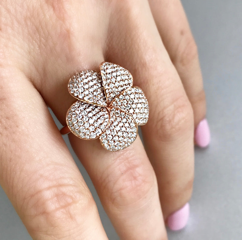 Pavé Diamond Set Flower Ring