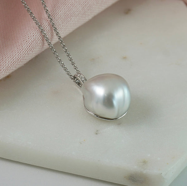 South Sea Baroque Pearl & Diamond Pendant