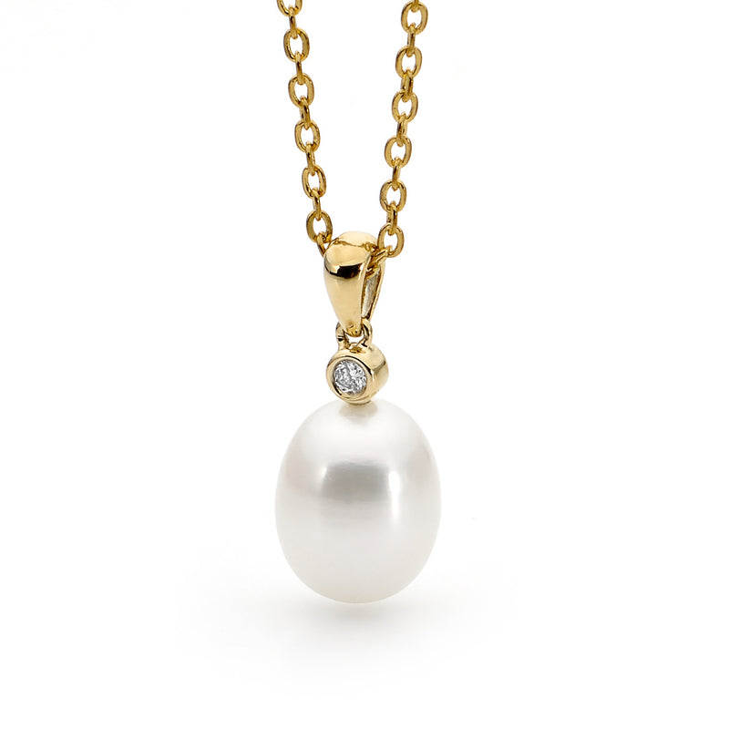 Pearl & Diamond Drop Pendant