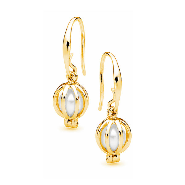 Cage Sheppard Hook Earrings with Pearl
