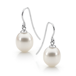 Sterling Silver Drop Freshwater Pearl Shepherd Hook Earrings