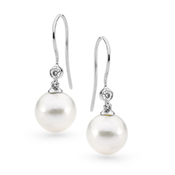 9ct Edison Freshwater Pearl Diamond Shepherd Hook Earrings