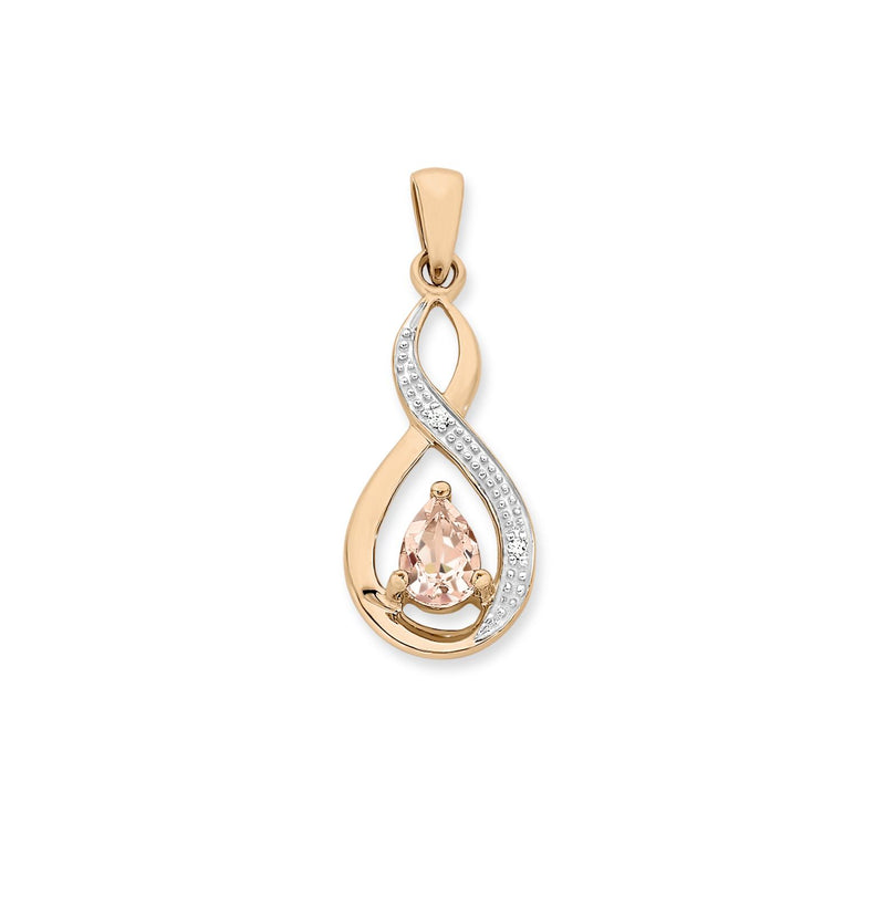 Morganite & Diamond Pendant