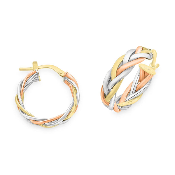 Three Tone Twist Hoop Earrings