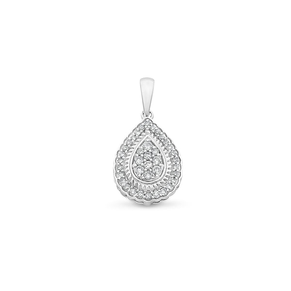 Diamond Cluster Pear Shaped Pendant