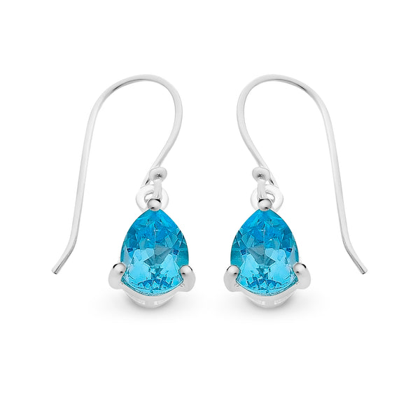 Blue Topaz Shepherd Hook Earrings