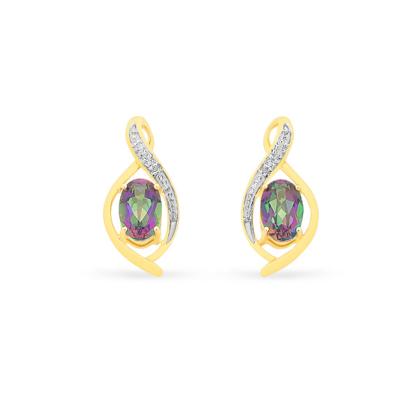 Mystic Topaz & Diamond Earrings