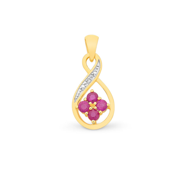Natural Ruby & Diamond Pendant