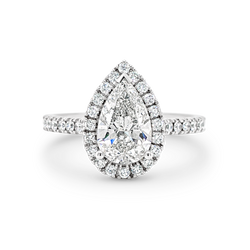 Madison-Pear Shape Diamond Halo Engagement Ring with Diamond Set Band in White Gold
