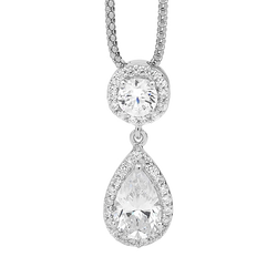 Sterling silver Cubic Zirconia pendant with round brilliant cut and pear halo