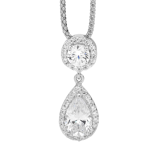 Cubic Zirconia Round & Pear Shaped halo Pendant