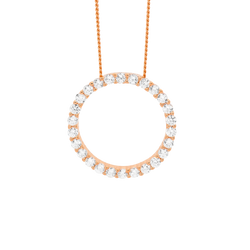 Cubic Zirconia Circle Pendant With Chain