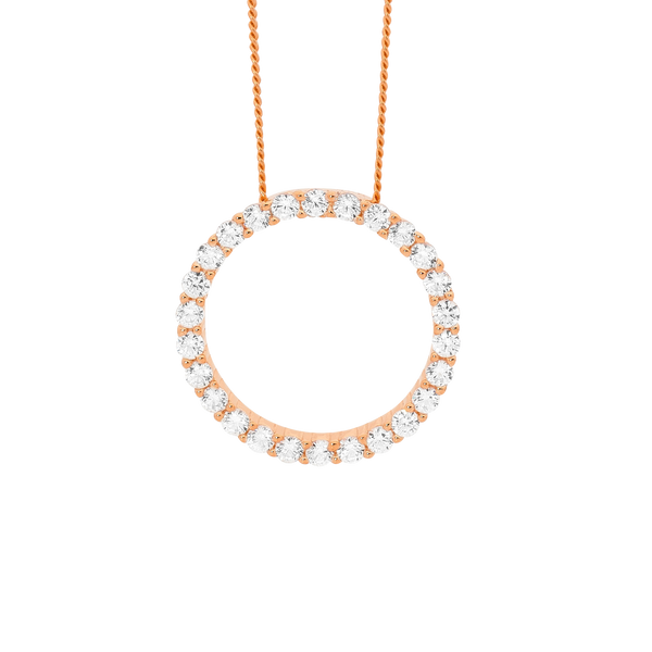 Sterling Silver Rose Gold plated circle Cubic Zirconia pendant with chain